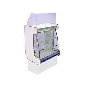 Balcao Caixa Vidro Semi Curvo Pop Luxo Polofrio Branco e Azul 60 Cm