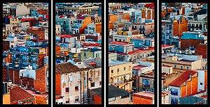 Quadro Mosaico 4 Partes Reto Cidade Art e Cia Preto