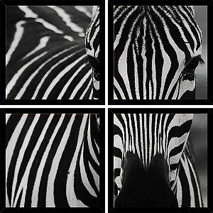 Quadro Mosaico 4 Partes Quadrado Zebra Art e Cia Preto