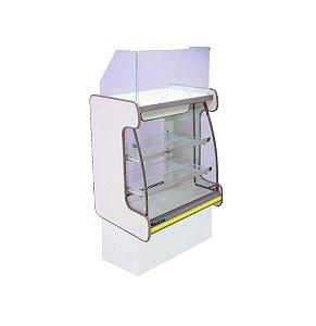 Balcao Caixa Vidro Semi Curvo Pop Luxo Polofrio Branco e Amarelo 60 Cm