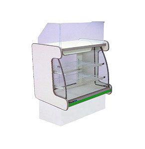 Balcao Caixa Vidro Semi Curvo Pop Luxo Polofrio Branco e Verde  1,25 M