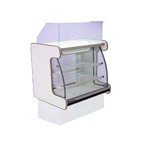 Balcao Caixa Vidro Semi Curvo Pop Luxo Polofrio Branco e Preto  1,25 M
