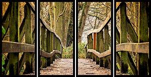 Quadro Mosaico 4 Partes Reto Ponte Na Floresta Art e Cia Preto