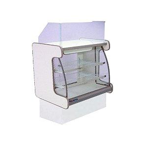 Balcao Caixa Vidro Semi Curvo Pop Luxo Polofrio Branco e Cinza  1,25 M