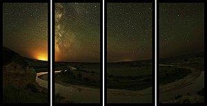 Quadro Mosaico 4 Partes Reto Ceu Estrelas Art e Cia Preto