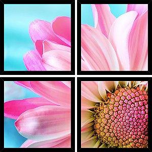 Quadro Mosaico 4 Partes Quadrado Petal Rosa Art e Cia Preto