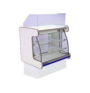 Balcao Caixa Vidro Semi Curvo Pop Luxo Polofrio Branco e Azul  1,25 M