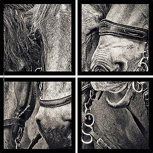 Quadro Mosaico 4 Partes Quadrado Cavalos Peb Art e Cia Preto