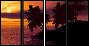Quadro Mosaico 4 Partes Reto Coqueiros Por Do Sol Art e Cia Preto