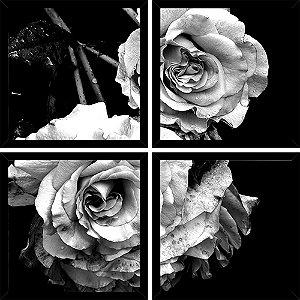 Quadro Mosaico 4 Partes Quadrado Rosas Peb Art e Cia Preto