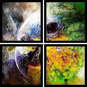 Quadro Mosaico 4 Partes Quadrado Papagaio Colorido Art e Cia Preto