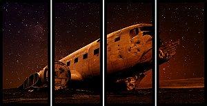 Quadro Mosaico 4 Partes Reto Aviao No Espaco Art e Cia Preto