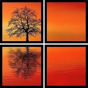Quadro Mosaico 4 Partes Quadrado Tree Sunset Art e Cia Preto