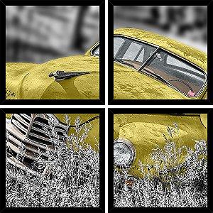 Quadro Mosaico 4 Partes Quadrado Old Timer Amarelo Art e Cia Preto