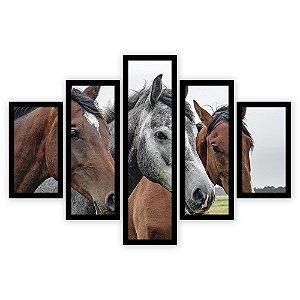Quadro Mosaico 5 Partes Diferentes Os Cavalos Quero Mais Quadros Preto