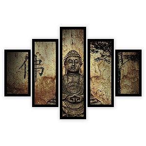 Quadro Mosaico 5 Partes Diferentes Estatua de Buda Quero Mais Quadros Preto