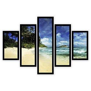 Quadro Mosaico 5 Partes Diferentes Praia Deserta Quero Mais Quadros Preto