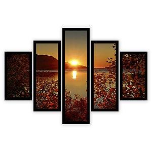 Quadro Mosaico 5 Partes Diferentes Por Do Sol com Folhagens Quero Mais Quadros Preto