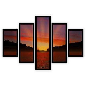 Quadro Mosaico 5 Partes Diferentes Por Do Sol Quero Mais Quadros Preto