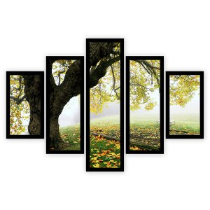 Quadro Mosaico 5 Partes Diferentes Arvore No Outono Quero Mais Quadros Preto