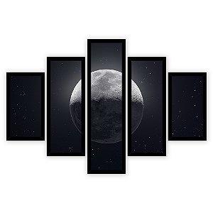 Quadro Mosaico 5 Partes Diferentes A Lua Quero Mais Quadros Preto
