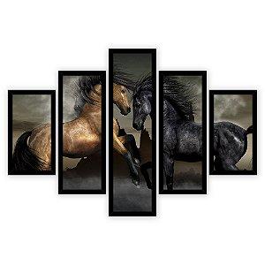 Quadro Mosaico 5 Partes Diferentes Casal de Cavalos Quero Mais Quadros Preto