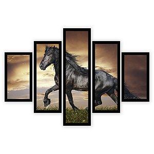 Quadro Mosaico 5 Partes Diferentes O Cavalo Negro Quero Mais Quadros Preto