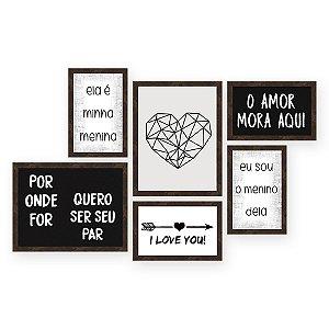 Kit com 6 Quadros O Amor Mora Aqui Retangular Quero Mais Quadros Amendoa
