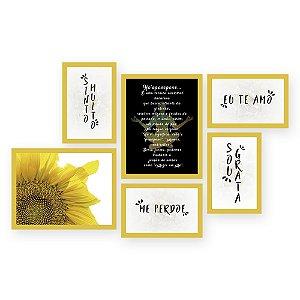 Kit com 6 Quadros Ho'oponopono Girasol Retangular Quero Mais Quadros Amarelo