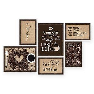 Kit com 6 Quadros Paz Amor Cafe Retangular Quero Mais Quadros Amendoa