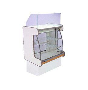 Balcao Caixa Vidro Semi Curvo Pop Luxo Polofrio Branco e Laranja 80 Cm