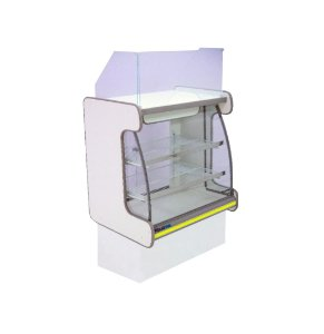Balcao Caixa Vidro Semi Curvo Pop Luxo Polofrio Branco e Amarelo 80 Cm