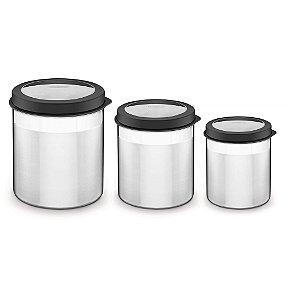 Jogo de Potes Inox Tampa Plastica 3 Pecas Cucina Tramontina