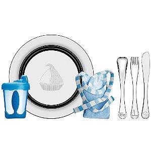 Kit para Refeicao Azul 6 Pecas em Aco Inox Le Petit Tramontina Inox