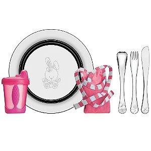 Kit para Refeicao Rosa 6 Pecas em Aco Inox Le Petit Tramontina Inox