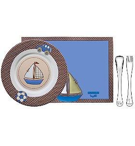 Kit para Refeicao Azul 4 Pecas Le Petit Tramontina Azul