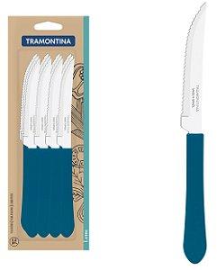 Conjunto de Facas De Churrasco 12 Pecas em Aco Inox Leme Tramontina Azul