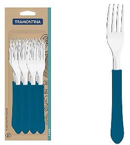Conjunto de Garfos De Mesa 12 Pecas em Aco Inox Leme Tramontina Azul