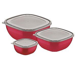 Jogo de Potes 3 Pecas em Polipropileno Mixcolor Tramontina Vermelho 30 Cm, 29 Cm
