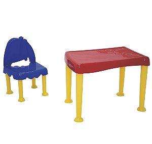 Mesa e Cadeira Infantil Monster Tramontina Colorido 50 Cm