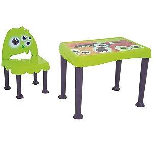 Mesa e Cadeira Infantil Monster Tramontina Verde 50 Cm