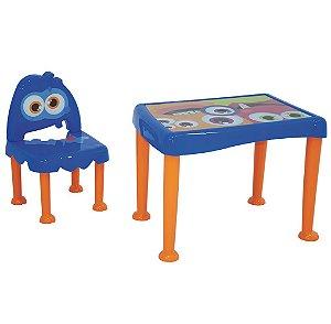 Mesa e Cadeira Infantil Monster Tramontina Azul 50 Cm
