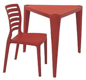 Mesa e Cadeira Infantil Sofia Tramontina Vermelho 63 Cm