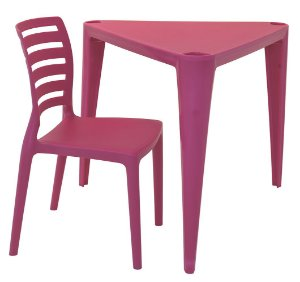 Mesa e Cadeira Infantil Sofia Tramontina Rosa 63 Cm