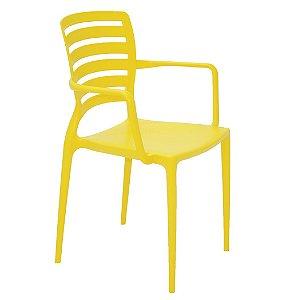 Cadeira com Bracos Encosto Vazado Summa Tramontina Amarelo 84 Cm