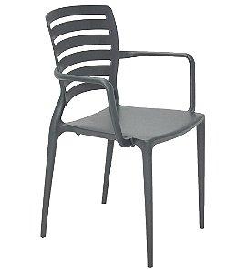 Cadeira com Bracos Encosto Vazado Summa Tramontina Grafite 84 Cm