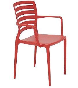 Cadeira com Bracos Encosto Vazado Summa Tramontina Vermelho 84 Cm