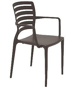 Cadeira com Bracos Encosto Vazado Summa Tramontina Marrom 84 Cm