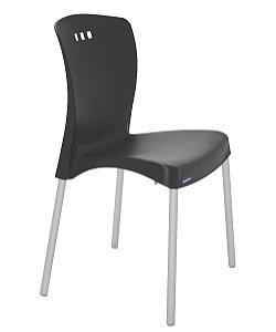Cadeira Sem Bracos e Pernas Anodizadas Summa Tramontina Preto 88 Cm