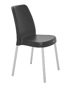 Cadeira em Polipropileno Pernas Anodizadas Summa Tramontina Preto 52 Cm